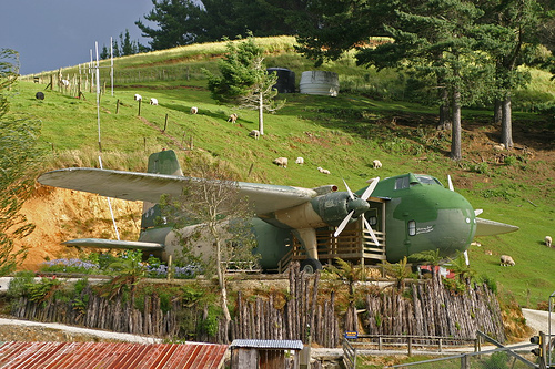 Travel: 1950's Bristol Freighter Plane Motel (Waitomo, New Zealand)