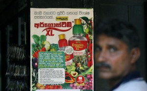 In this July 24, 2014, photo, a Sri Lankan farmer walks past an advertisement promoting agrochemicals in Padaviya, Sri Lanka. A chronic kidney disease that has already killed up to 20,000 people over the past two decades and affects anywhere from 70,000 to 400,000 more in the country's North Central rice basket, remains an enigma without a name. Many in Sri Lanka, including the World Health Organization, have pointed to heavy use and misuse of agrochemicals as a possible culprit in a country that's among the world's top fertilizer users. (AP Photo/Eranga Jayawardena)