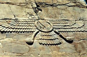 The Faravahar, a popular symbol of Zoroastrianism. Photo: Getty Images