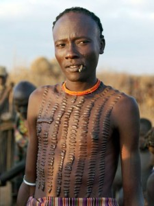Dassanech man with his tribal scarification.