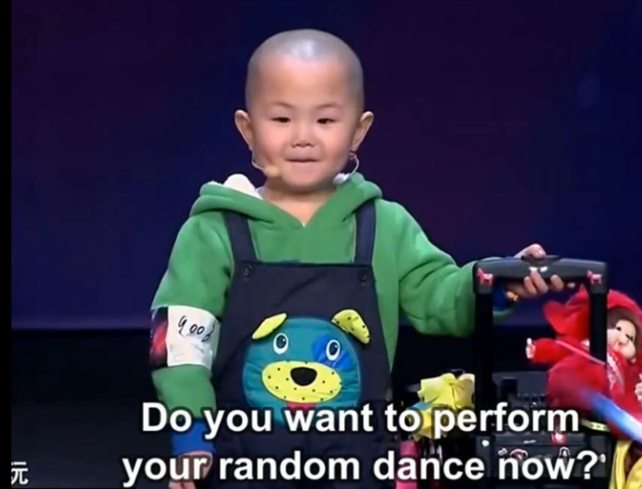 Adorable 3 year old is very happy to dance!