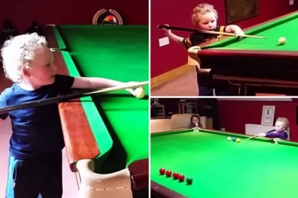 Adam Wynne Amazing 3 Year Old Irish Snooker Kid