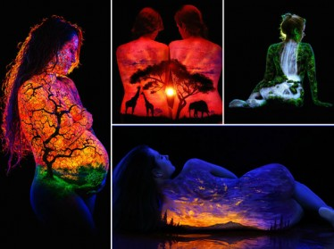 The Wonders of Nature on the Human Body: Painting Fluorescent  Landscapes