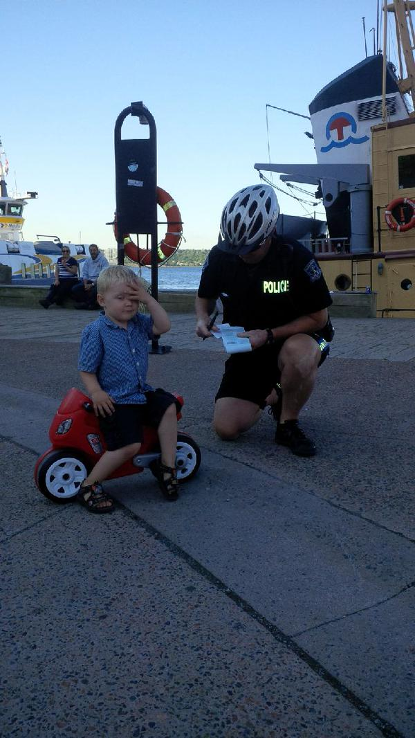 A Nova Scotia  3-year-old gets 'parking ticket' from police in viral photo