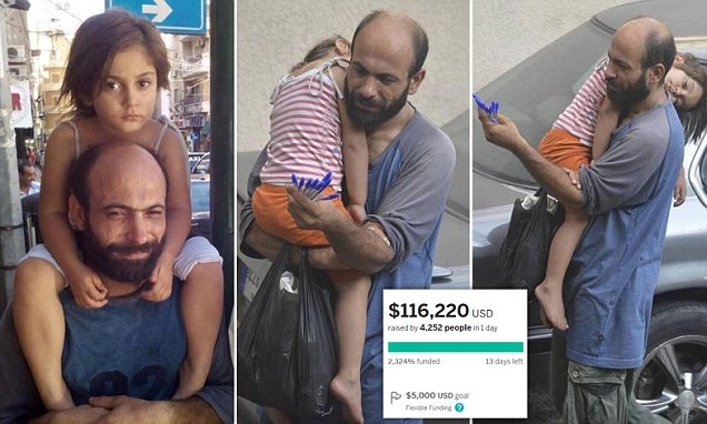 Remember the Syrian dad who sells pens while holding his sleeping daughter?