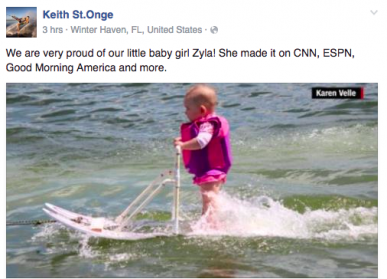 6 Month Old Girl baby Zyla becomes youngest ever waterskieR