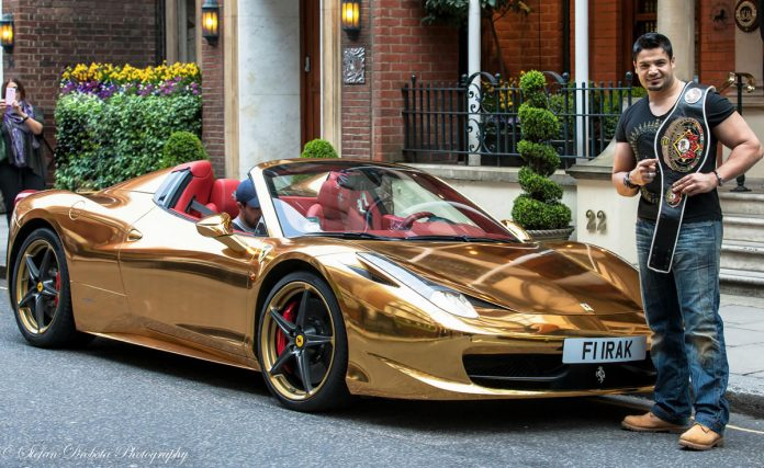 People: Riyadh Alazzawi WKN World Champion breaks the news across the World with his Gold Ferrari