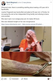 PEOPLE: 'You're hurting me!' Pensioner is dragged to jail by police after 'falling behind on her rent' – just days before her 94th birthday