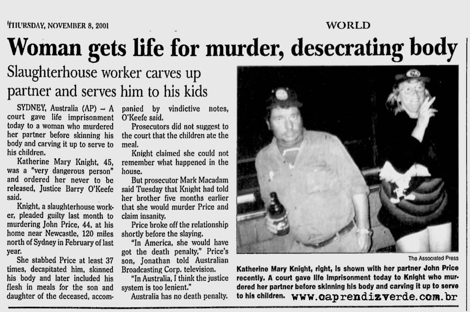 HEALTH EDUCATION: Psychopath Killer Katherine Knight, Dad's Head For Dinner