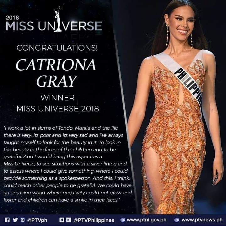 PEOPLE: Ms. Philippines Catriona Gray Crown 67th Miss Universe 2018